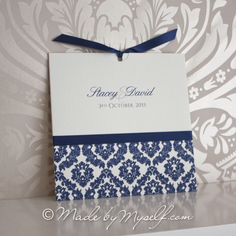 Wedding Invitations Pocket Style: Damask Pocket Style Wedding Invitation