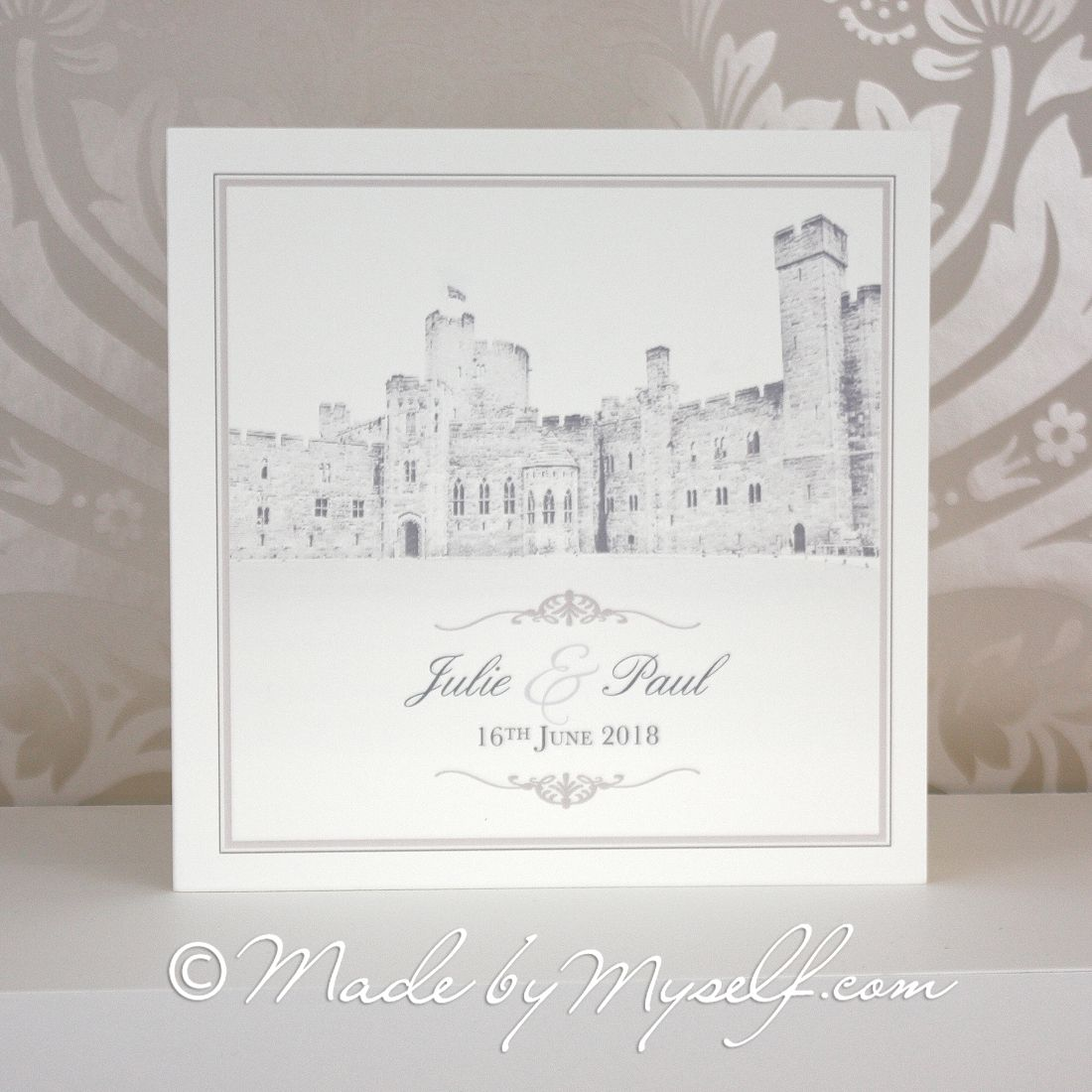Wedding Invitations Castle Hill: Peckforton Castle Printed Border Wedding Invitation