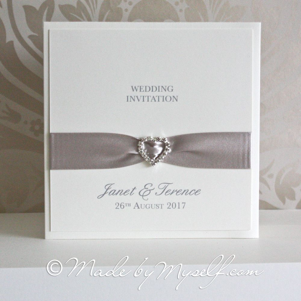 Wedding Invitation Folders With Pocket: Ribbon Heart Pocketfold Wedding Invitation